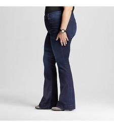 Ava & Viv Women's Solid Flare Jeans - Dark Blue - Size: 18W