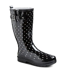 Western Chief Women's Polka Dot Rainboots - Black - Size: 8