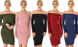 Bold Move Off The Shoulder Long Sleeve Midi Dress: Burgundy - Medium