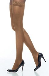 Sigvaris Soft Opaque 843NMLO35 30-40 mmHg Womens Open Toe Thigh, Nude, Medium-Long
