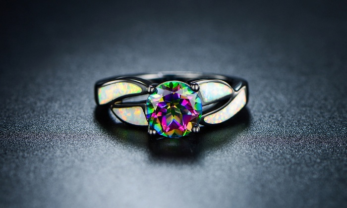 silverbestbuy cut a ring rings mystic fire jewelry wedding topaz emerald