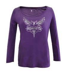 Charlotte Hornets Women's Long Sleeve Scoop Neck Tee - Purple - Size: S
