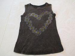 Vintage Women's Flower Heart Design Tank Top - Brown - Size XS