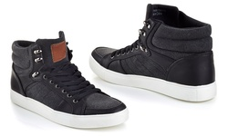 Franco Vanucci Men's Lace-Up High Top Sneakers - Black/Black - Size: 11.5