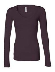 Bella Women's V-neck Sheer L/S Longer-Length Tee - Plum - Size: L