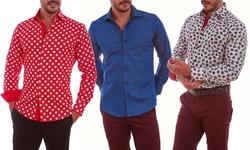 Suslo Couture Men's Button Down Shirts - Purple - Size: X-Large