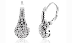 5.00 CTTW Studded Swarovski Elements Leverback Earring
