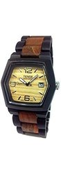 Tense Wood Watch Mens Two Tone with Date Window - Light Face