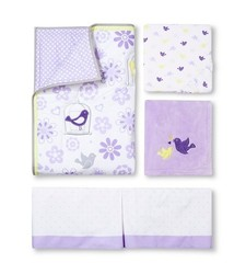 Circo 4 PC 200 TC Crib Bedding Set - Purple/White