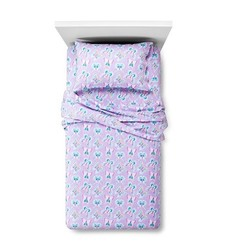 Circo Butterfly Flannel Sheet 3 Pc Set - Purple - Size: Twin