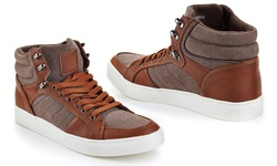 Franco Vanucci Men's Lace Up High Top Sneakers - Brown/Tan - Size: 12