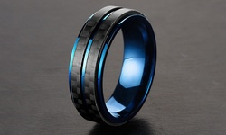 Men's Blue Plated Stainless Steel Ring with Carbon Fiber Accent - Size: 8