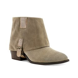 Cypress Foldover Bottom Buckle Booties: Natural/10