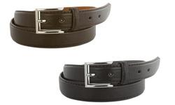 Men's 2-Pack Genuine Leather Dress Belts - Black/Brown - Size: 34-36