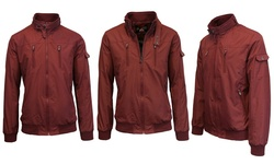 Spire by Galaxy Men's Lightweight Moto Bomber Jacket - Maroon - Size: M