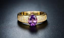 Sevil Women's 18K Gold Plated Amethyst Ring - Size: 8