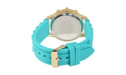 Journee Collection Quartz Roman Numeral Silicone Band Watch - Blue