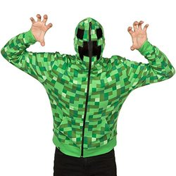 Minecraft Creeper Premium Zip-up Hoodie - Green - Size: X-Small