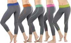 To Be in Style Women's Waistband Capri Leggings 5pk - Assorted - Size: One