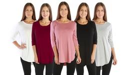 Nelly Women's Plus Size Women 3/4 Sleeve Tunic Top: Black/1x
