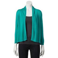Dana Buchman Crop Open-Front Cardigan - Green - Size: Small