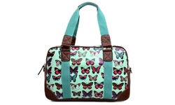 Miss Lulu Women's Oilcloth Travel Bag Butterfly Design - Light Blue/Dog