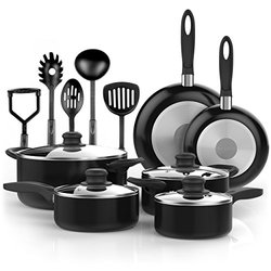 Vremi 15 Piece Nonstick Cookware Set; 2 Saucepans and 2 Dutch Ovens with Glass Lids, 2 Fry Pans and 5 Nonstick Cooking Utensils; Oven Safe, PTFE and PFOA Free