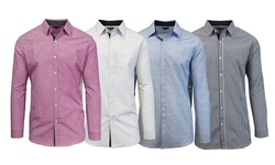 Slim Fit Button-down Shirt: Mls-305 White & Burgundy/ Medium