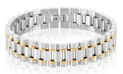 West Coast Jewelry Men's Bracelet - Two Tone - Stainless Steel