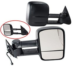 Hex Autoparts Power Heated Black Side View Towing Mirror LH RH Pair Set for Chevy Silverado Suburban Tahoe GMC Sierra Yukon Pickup Truck SUV 1999-2002 GM1320411 GM1321411