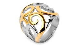 High Polish Two Tone Swirl Rings in Stainless Steel - Swirls - Size: 8