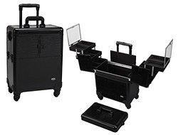 Seya 4 Wheel Spinner Rolling Makeup Case with 5 Trays (Black Gator)