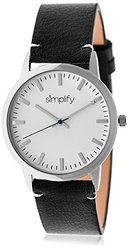 Simplify Men's Watch-Leather Band: 2801/Black Band-Silver Bezel