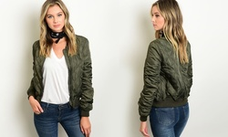 Jason Maxwell Women's Junior Quilted Bomber Jacket - Olive - Size: Large