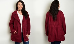 Columbia Women's Plus-Size Trench Jacket - Burgundy - Size: 2XL
