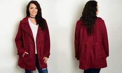 Women's Long Sleeve Collared Peacoat - Burgundy - Size: 1X