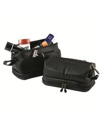 Royce Leather Toiletry Bag with Leather - Black - Size: Medium