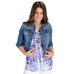 One World Women's Stretch Denim Cropped Jacket - Light Indigo - Size: 1X