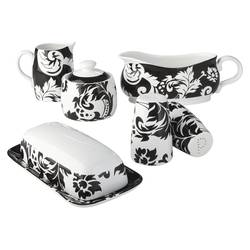Damask 6 Piece Completer Set - Black/White