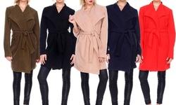 Women's Winter Long Sleeve Trench Coat Jacket With Belt: Red/medium