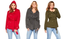 Women's Hooded Belted Fleece Jacket: Red/xl