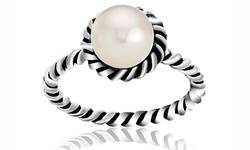 Twisted Sterling Silver Fresh Water Pearl Ring - Size: 8