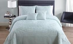 Hilltop 5-Piece Bedspread Set - Blue - Size: Queen