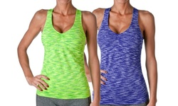 Riverberry Women's 2-Pack Racerback Tank Tops - Green/Blue - Size: S/M