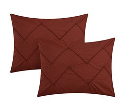 Chic Home 10 Piece Maddie Rope like Pinch Pleated REVERSIBLE Oversized & Overfilled Queen Bed In a Bag Comforter Set Marsala