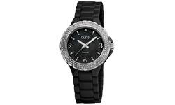 Burgi Women's Diamond Ceramic Mother of Pearl Quartz Watch - Black