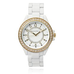 Journee Collection Round Face Quartz Silicone Band Watch - White