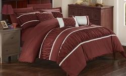 10-Piece Penelope Bed in a Bag Comforter Set - Brick - Size: Queen