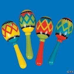Fun Express Mini Wooden Painted Maracas - 12 Piece Pack