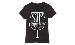 LC Trendz Women's Short Sleeve Tee - Sip Happens/Wine Glass - Size: M